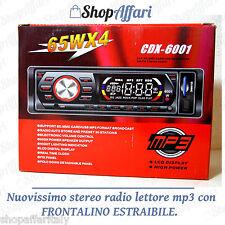 STEREO AUTO AUTORADIO AUX MP3 SLOT USB SD NUOVO FRONTALINO ESTRAIBILE  CAMPER