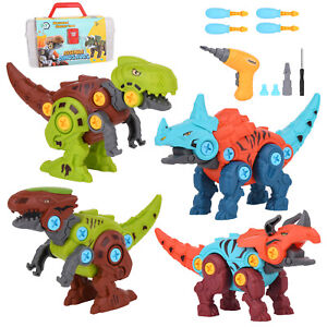 DIY Take Apart Dinosaur Toys for Kids Ages 3-7 with Storage Box Electric Drill