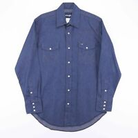 Vintage WRANGLER Blue Pre-Shrunk Denim Shirt Size Men's Medium