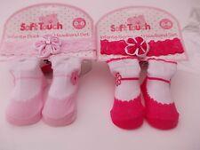 Baby mädchen rosa & dunkelrosa socken mit passenden haarreifen. 0-6 monate