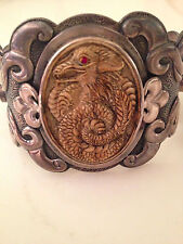 STERLING CUFF BRACELET.HANDCARVED DRAGON MAMMOTH,RUBY,TURQ CABS.1 OF A KIND!