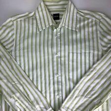 HUGO BOSS Mens Shirt Green Stripe Long Sleeve Size Medium