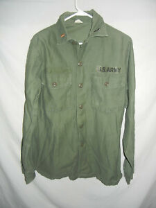 VTG 60s/70s Olive Green US ARMY shirt 15.5 x 35 Military collar patch