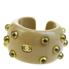Authentic CHANEL CC Logo Ring Accessories Plastic Brown Gold-tone #6.5 07BD767