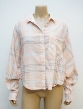 Free People Womens Medium Button Down Crop Shirt Top Plaid Batwing Sleeve