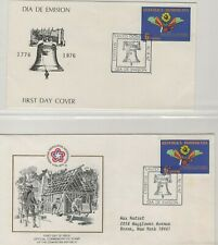 DOMINICAN REPUBLIC 1976 (2) DIFFERENT FIRST DAY COVERS AMERICAN BICENTENNIAL