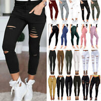 76169b53efa08 Womens Slim Fit Skinny Jeggings Pants Stretch Trousers Ladies Leggings Jeans  Rip