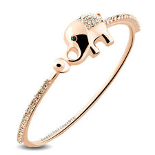 Lucky Elephant Cute Animal 18K Rose Gold GP Fashion Bangle Bracelet 738