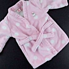 Baby Girl Bathrobe 0-9 Months Pink White Tie Long Sleeve Polka Dot Terrycloth