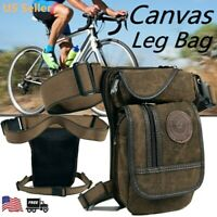 Men Canvas Motorcycle Rider Drop Leg Bag Tactical Military Belt Waist Fanny Pack