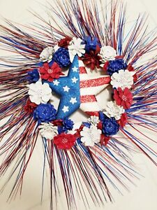 """Red White & Blue Pine Cone Flower 14"""" Wreath Fourth of July"""