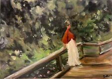 Print of original oil painting Art Landscape figure impressionism shabby chic