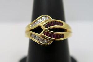 Stunning - Ladies 2/3 Carat Diamond & Ruby Crossover Ring - 18k Yellow Gold