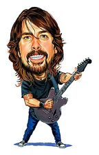 Foo Fighters, Nirvana Dave Grohl Caricature Hard Rock Sticker or Magnet