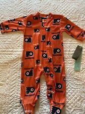 Philadelphia Flyers Nhl Orange Baby Team Print Full-Zip Sleeper - Nwt