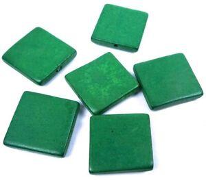 6 Wood Flat Square Beads 30mm - Green