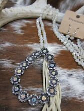 Long glass bead tassel western necklace with rhinestones rodeo cowgirl bling