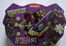 Teenage Mutant Ninja Turtles, Nickelodeon 3 Puzzle Set, in Metal Tin Box NEW