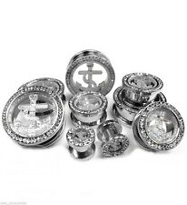 """PAIR-Anchor Crystal Steel Screw On Tunnels 16mm/5/8"""" Gauge Body Jewelry"""