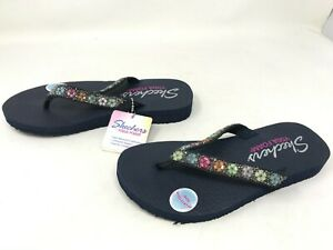 Womens Skechers (31559) Meditation Daisy Delight Navy Flip Flops (449K)