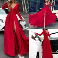Ladies Deep V Neck Long Sleeve Solid Maxi Dress Wedding Bridesmaid Prom Party