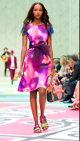 NWT, Burberry Prorsum Runway Berry Floral Print Crepe Dress (IT46/ 10 US), Italy