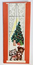 Unused Vintage Christmas Card Puppy Dog Kitty Cat Window House Tree Present Bow