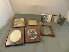 7 Picture frames one double metal wood glass table stand alone family memories