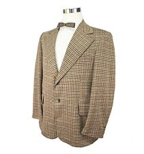 Vtg 70s Mens Sports Coat 42R Brown Houndstooth Polyester 2 Button Single Vent