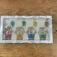 Dept 56 Place Card Holders Ginger Bear Glass with Balloons Set of 4 Colorful