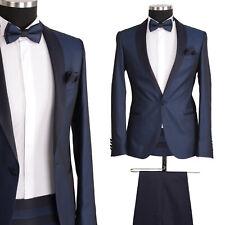 Herrenanzug Designer Smoking Hochzeitsanzug Bräutigam Parlament Blau Slim Fit