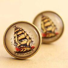 Sailor Jerry Cufflinks  Nautical Pirate Ship Rockabilly Tattoo Handmade Pinup