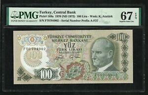 Turkey : 100 Lira 1970 ; PMG : Superb UNC 67 ; EPQ