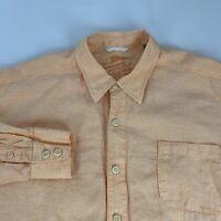 Tommy Bahama Camp Shirt Men's 2XL 100% Linen Orange Long Sleeve Button Front XXL