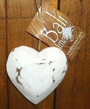 NEW SHABBY CHIC Hanging Decoration WOOD Heart Shaped Distress Rustic 3D Finish