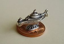 BEAUTIFUL ' GENIE LAMP - GENIE ' STERLING SILVER CHARM OPENS