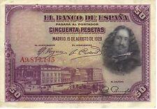 // 50 pesetas 1928 velazquez BC\