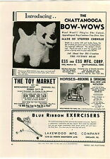 1942 PAPER AD The Toy Chattanooga Bow Wows Stuffed Animals Ess and Ess Co