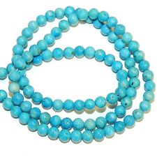 """GR540f Turquoise Blue 4mm Round Gemstone Coral Fossil Riverstone Beads 16"""""""