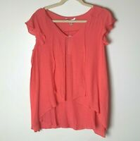 Counterparts NEW Women's Top Size Medium Short Sleeve Casual Coral Orange