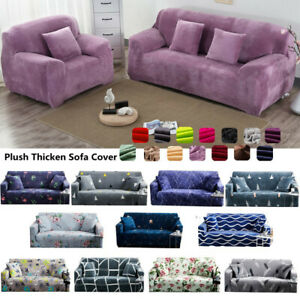 Stretch Plush Thick Sofa Covers 1 2 3 4 Seater Couch Slipcover Protector Floral
