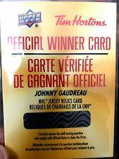 19-20 TIM HORTONS NHL JERSEY RELICS  REDEMPTION * JOHNNY GAUDREAU * RELIQUES LNH
