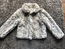 Primarks Girls Fluffy Coat Age 10-11 Years (a3)