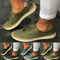 Women Ladies Casual Suede Shoes Plimsolls Flats Slip On Loafers Sneakers Pumps