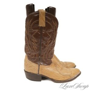#1 MENSWEAR Made in Mexico Genuine Sharkskin Leather Brown Tan Cowboy Boots 10.5