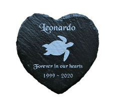 Personalised Engraved Heart Pet Memorial Grave Marker Plaque Terrapin/ Turtle