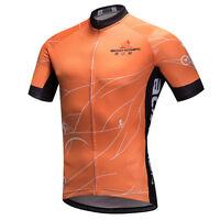 Orange Men's Cycling Shirt Short Sleeve Bicycle Clothes Top Biking Jersey S-5XL