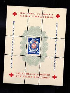 1945 Poland MNH Souvenir sheet Dachau Red Cross Concentration Camp Stamp Perf