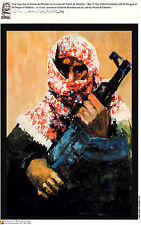 Political cuban poster.Palestine ARMED fighter.arabs 17.Socialism.World History