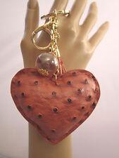 Schlüsselanhänger Taschen Anhänger XL Herz Quaste Perle Gold Altrosa Kunstleder